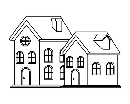 house and building icon isolated black and white vector illustration graphic design