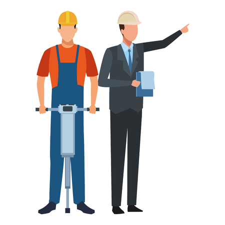 Construction teamwork avatar worker with driller and engineer with checklist vector illustration graphic design