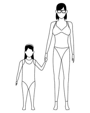 woman and young girls avatar wearing swimwear and sunglasses black and white vector illustration graphic design Stock Illustratie