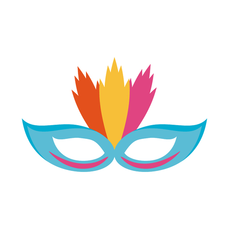 Party mask with feathers cartoon