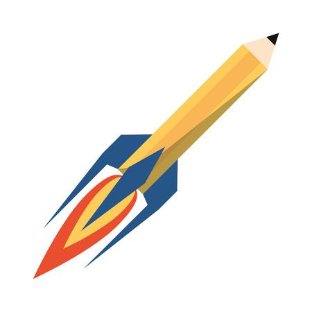 Start up pencil rocket symbol isolated vector illustration graphic design 向量圖像