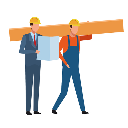 Construction teamwork avatar worker holding plank and engineer with plans vector illustration graphic design