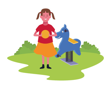 Girl smiling and playing with playground games in the park outdoors scenery vector illustration graphicdesign