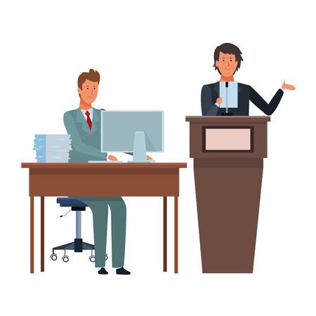 men in a podium and office desk wearing elegant suits vector illustration graphic design Vector Illustratie