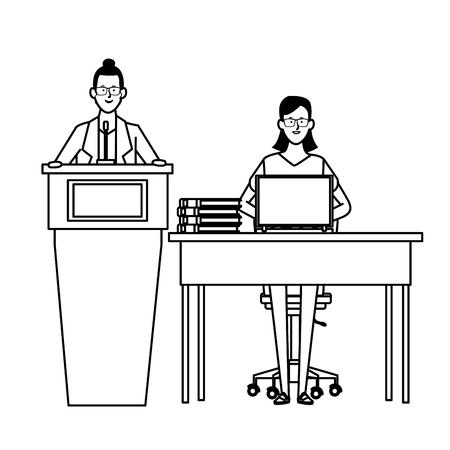 women in a podium and office desk wearing glasses black and white vector illustration graphic design Ilustração