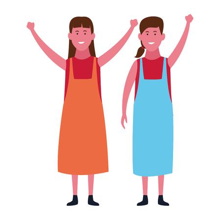 Cute kids girls smiling with hands up cartoon vector illustration graphic design Stock Illustratie