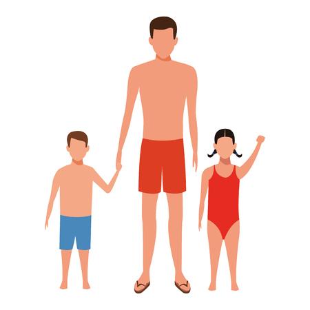 man and children avatar wearing summer clothes swimwear vector illustration graphic design