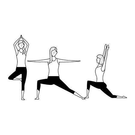 women yoga poses avatar cartoon character black and white vector illustration graphic design