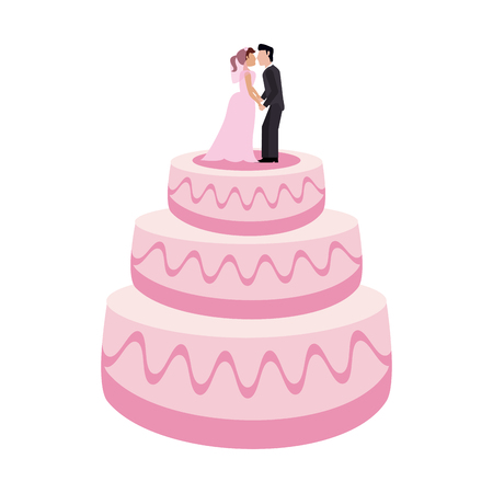 Wedding cake with bride and groom dummies vector illustration graphic design