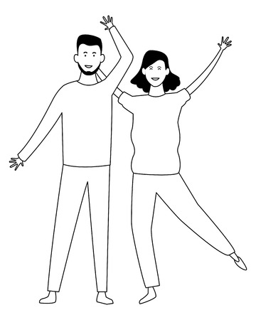 Couple boyfriend and girlfriend smiling cartoon vector illustration graphic design Vectores
