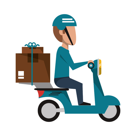 Delivery guy driving scooter with boxes vector illustration graphic design