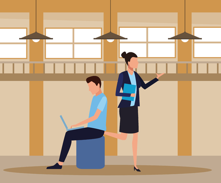 Coworkers businesswoman and man seated with laptop teamwork cartoon inside workplace office vector illustration graphic design Ilustração