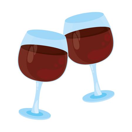 Wine cups toast cartoon vector illustration graphic design Stock Illustratie