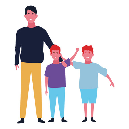 Family father with boys vector illustration graphic design