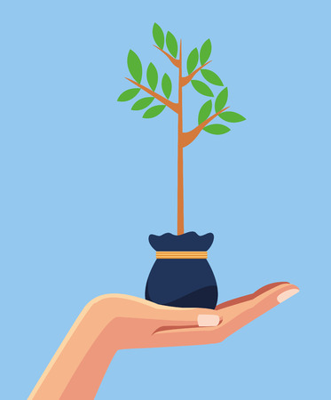 Hand with plant nature cartoon blue background vector illustration graphic design