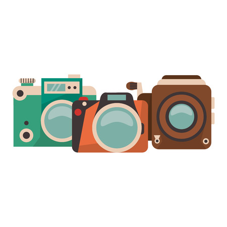 vintage cameras set cartoons vector illustration graphic design Illustration