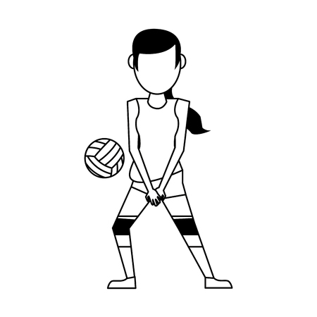 Voleyball player with ball avatar vector illustration graphic design Çizim