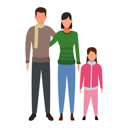 family avatars cartoon character wearing winter clothes vector illustration graphic design Stock Illustratie