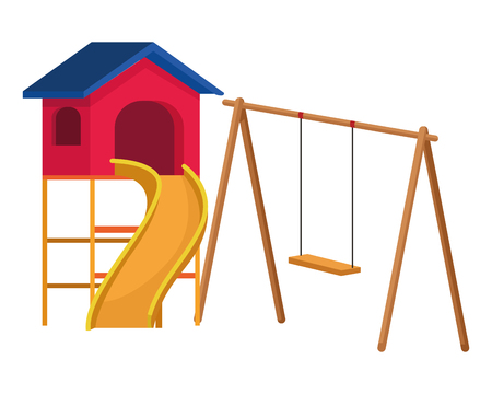 House with swing playground game vector illustration graphicdesign Stock Illustratie