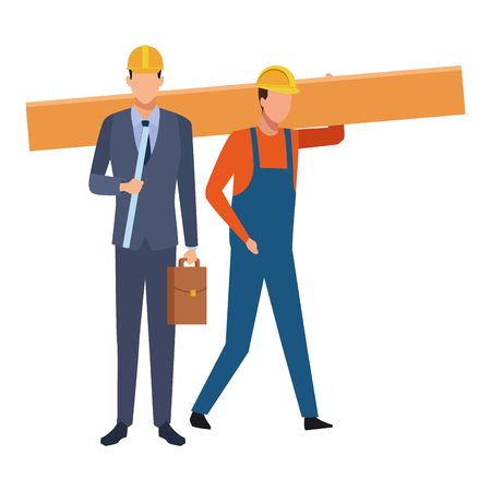 Construction teamwork avatar engineer with briefcase and plans and worker holding plank vector illustration graphic design