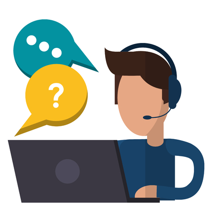 Call center agent with customer service symbols vector illustration graphic design Vetores