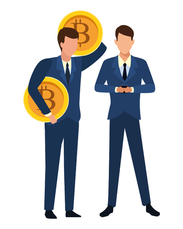 Business people with bitcoins avatars vector illustration graphic design