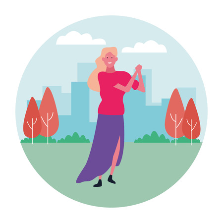 Happy woman dancing and smiling cartoon at city park round icon vector illustration graphic design