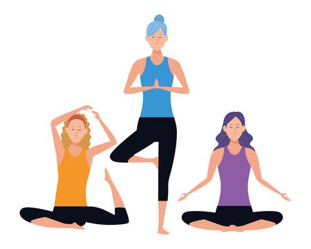 women yoga poses avatar cartoon character vector illustration graphic design Stock Illustratie