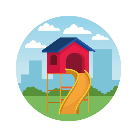 House with swing playground game in the city park round icon vector illustration graphicdesign