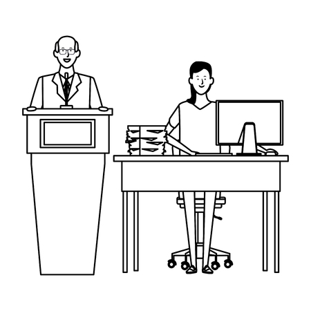 couple in a podium and office desk wearing glasses black and white vector illustration graphic design Ilustrace