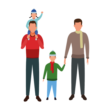 men carrying children and wearing winter clothes vector illustration graphic design
