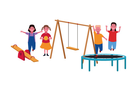 Kids playing with playground games cartoon vector illustration graphicdesign
