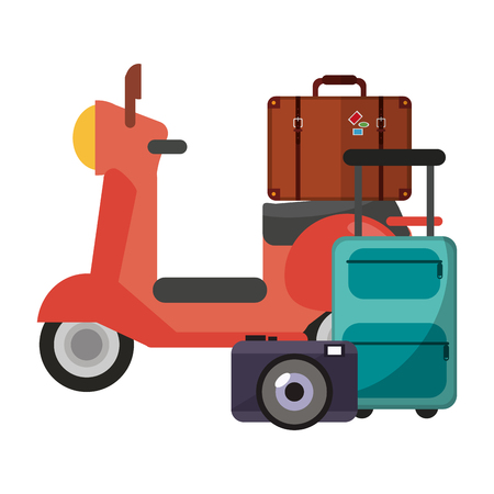 Vacations and travel scooter and suitcase with camera and luggage vector illustration graphic design