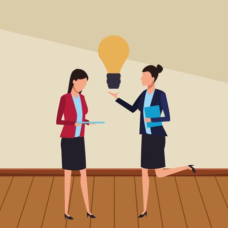 Coworkers businesswomen with big idea teamwork cartoon on wooden floor vector illustration graphic design Stock Illustratie