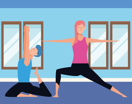 couple yoga poses avatars cartoon character indoor in the gym vector illustration graphic design