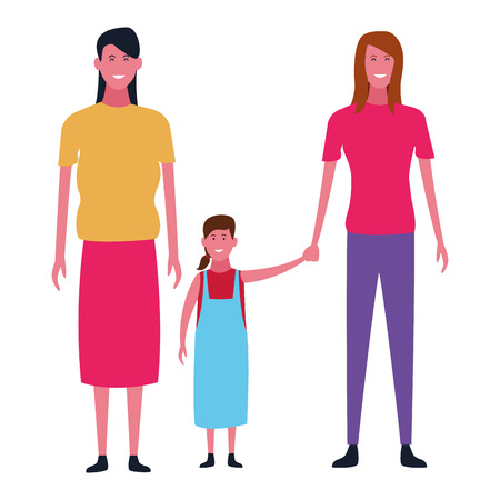 Family single mother with daughter vector illustration graphic design