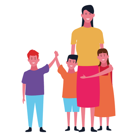 Family single mother with sons and daughter vector illustration graphic design