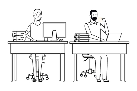 couple in a office desk with computer and books black and white vector illustration graphic design