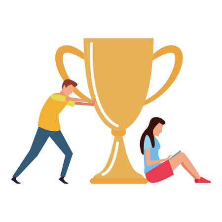 Coworkers pushing trophy cup and woman seated with laptop teamwork cartoon vector illustration graphic design 일러스트