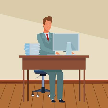 man in a office desk with computer and documents indoor vector illustration graphic design Illustration