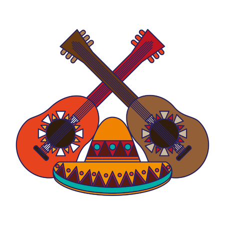 Mexico culture and symbols cartoons vector illustration graphic design