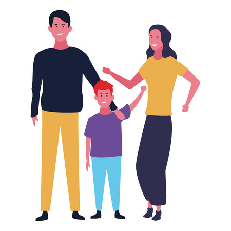 Family father and mother with son vector illustration graphic design