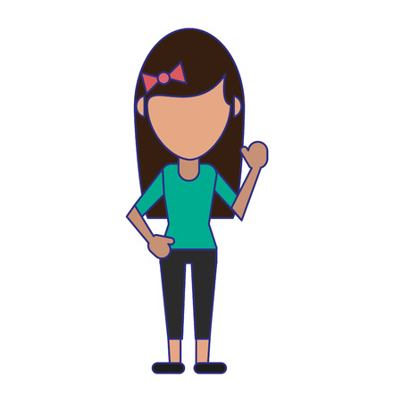 Woman greeting faceless avatar vector illustration graphic design Çizim