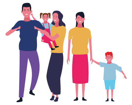 Family parents with son and daughter vector illustration graphic design