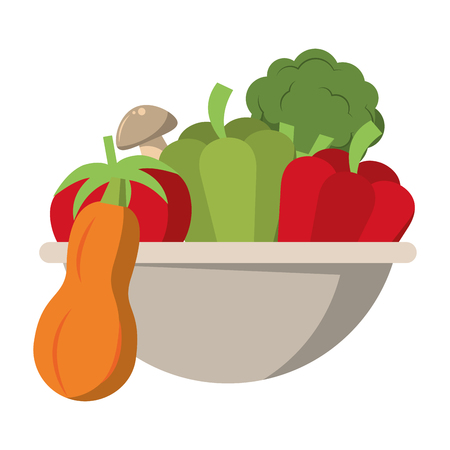 Fresh vegetables food in bowl vector illustration graphic design Standard-Bild - 122894361