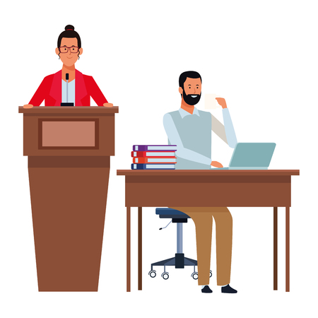 couple in a podium and office desk wearing glasses and beard vector illustration graphic design