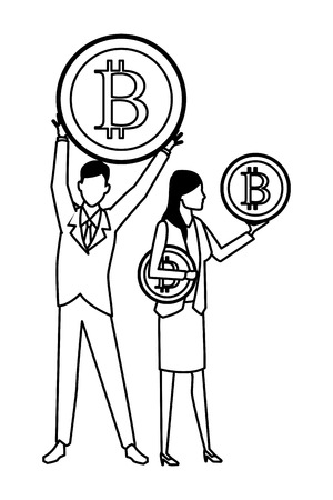 Business people with bitcoins avatars vector illustration graphic design Stock fotó - 122894390