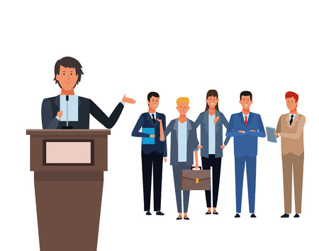 man in a podium with audience making a speech vector illustration graphic design Иллюстрация