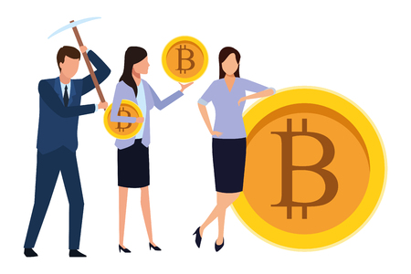 business people holding cryptocurrency bitcoin with pickaxe vector illustration graphic design