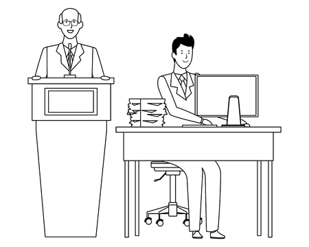 men in a podium and office desk wearing elegant suits black and white vector illustration graphic design
